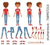 boy character creation set ... | Shutterstock .eps vector #768907213