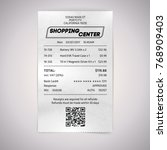 realistic paper shop qr receipt.... | Shutterstock .eps vector #768909403