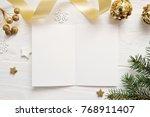 mockup christmas greeting card... | Shutterstock . vector #768911407