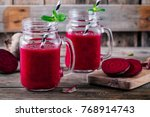 healthy detox beet smoothie... | Shutterstock . vector #768914743