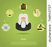 law and order concept with flat ... | Shutterstock . vector #768915727