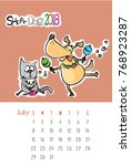 calendar 2018 with cute funny...   Shutterstock .eps vector #768923287
