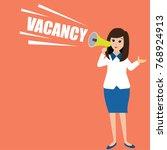 Stock vector executive woman holding a megaphone announcing job vacancy 768924913