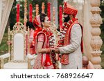 indian groom dressed in white... | Shutterstock . vector #768926647