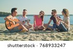 young people sitting  drinking  ... | Shutterstock . vector #768933247