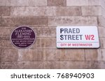 Small photo of LONDON- NOVEMBER, 2017: Praed Street sign with London 'Blue Plaque' showing site of Alexander Fleming discovery