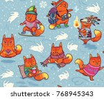 baby fox characters seamless... | Shutterstock .eps vector #768945343