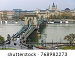 chain bridge in budapest on a... | Shutterstock . vector #768982273