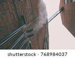 facade of a brick house with... | Shutterstock . vector #768984037