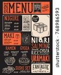 sushi menu for restaurant and... | Shutterstock .eps vector #768986593