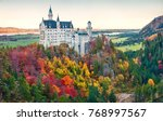 Small photo of Bright autumn view of Neuschwanstein Castle (Schloss Neuschwanstein) in in Fussen Germany. Colorful morning scene in Bavarian Alps, Germany, Europe. Instagram filter toned.