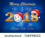 happy new year 2018 with... | Shutterstock . vector #768998023