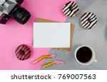 mockup with clean paper blank ... | Shutterstock . vector #769007563