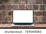 modern laptop with empty white...   Shutterstock . vector #769040083