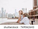grandmother and little girl... | Shutterstock . vector #769062643