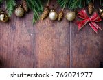 christmas balls decor on old... | Shutterstock . vector #769071277