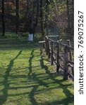 Small photo of old Wooden meadow fence with fence post