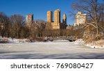 frozen lake in central park... | Shutterstock . vector #769080427