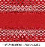 winter christmas x mas knitted... | Shutterstock .eps vector #769092367