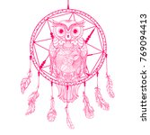 dreamcatcher. owl. tattoo art ... | Shutterstock .eps vector #769094413