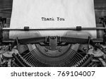 vintage typewriter with printed ... | Shutterstock . vector #769104007