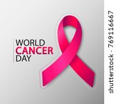 world cancer day with ribbon.... | Shutterstock .eps vector #769116667