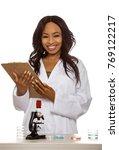 Black Female Scientist Wearing...