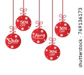 christmas sale balls with... | Shutterstock .eps vector #769136173