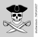 jolly roger skull in tricorn... | Shutterstock .eps vector #769141027