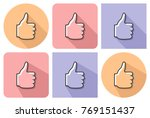 outlined icon of fist with... | Shutterstock . vector #769151437