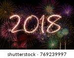 new year eve fireworks 2018 | Shutterstock . vector #769239997