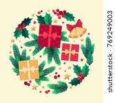 christmas circle with fir...   Shutterstock .eps vector #769249003