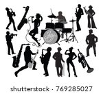 silhouettes of musicians with... | Shutterstock .eps vector #769285027