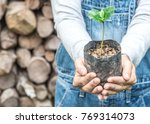 hands of women farmer showing... | Shutterstock . vector #769314073