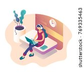 A girl sitting on the sofa works on the laptop and listens to music. Vector isometric illustration | Shutterstock vector #769335463