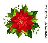 vector red christmas poinsettia ... | Shutterstock .eps vector #769338463