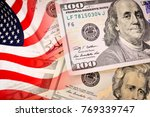 american flag and banknotes ...