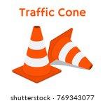 traffic cone  equipment for... | Shutterstock .eps vector #769343077