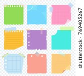 bright square colored sheets of ... | Shutterstock . vector #769405267