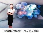 attractive young european... | Shutterstock . vector #769412503