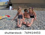siblings have fun time on the... | Shutterstock . vector #769414453