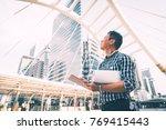 engineer man on construction... | Shutterstock . vector #769415443