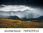 powerful heavy rainfall.... | Shutterstock . vector #769425913