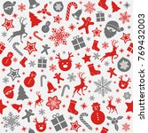 cute christmas background with... | Shutterstock .eps vector #769432003