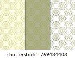 olive green set of floral... | Shutterstock .eps vector #769434403