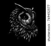 the vector logo owl for t shirt ... | Shutterstock .eps vector #769452577