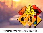 set of traffic warning sign on... | Shutterstock . vector #769460287