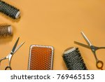 hair brushes and scissors on... | Shutterstock . vector #769465153