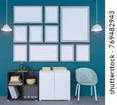 poster on the wall and interior.... | Shutterstock . vector #769482943