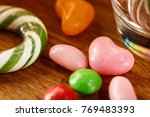 randomly scattered candy on the ... | Shutterstock . vector #769483393